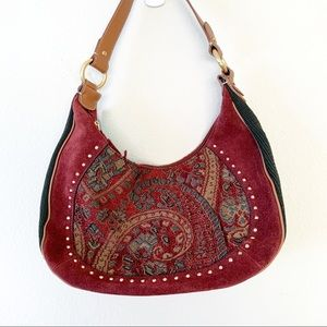 The Sak Pink Label Burgundy Embroidered Hobo NWT
